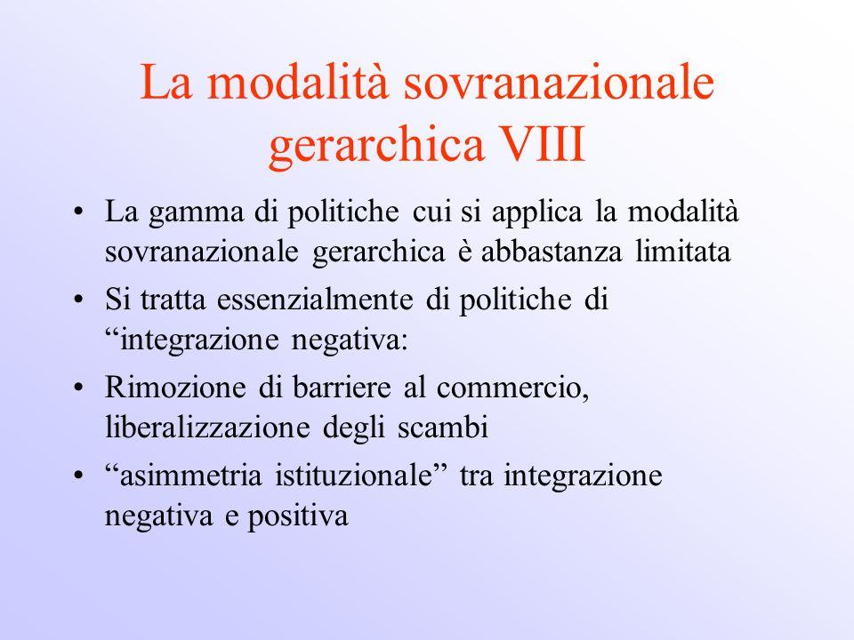 La modalità sovranazionale gerarchica VIII La gamma di politiche cui si applica la modalità sovranazionale gerarchica è abbastanza limitata Si tratta