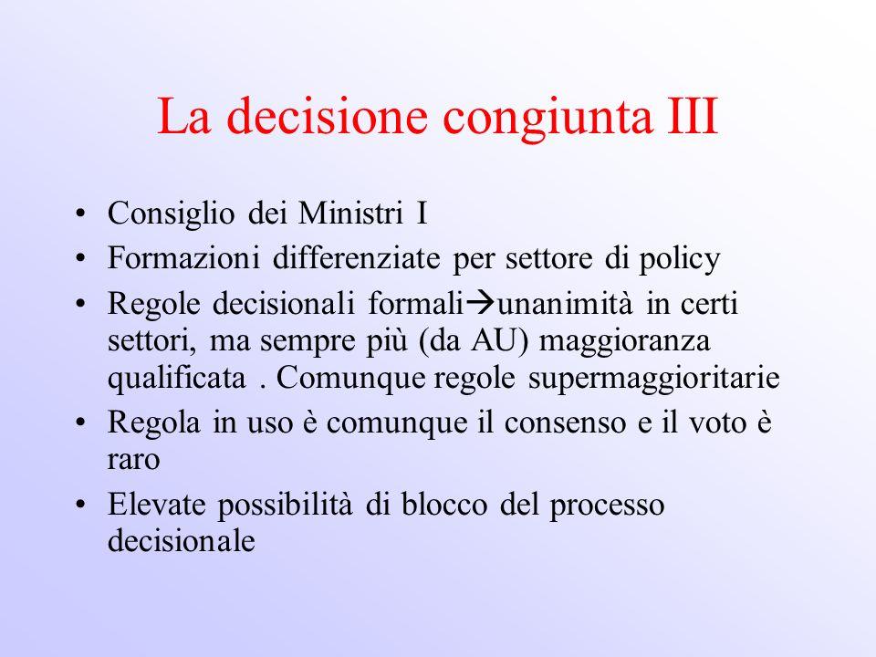 La decisione congiunta III Consiglio dei Ministri I Formazioni differenziate per settore di policy Regole decisionali formali unanimità in certi setto