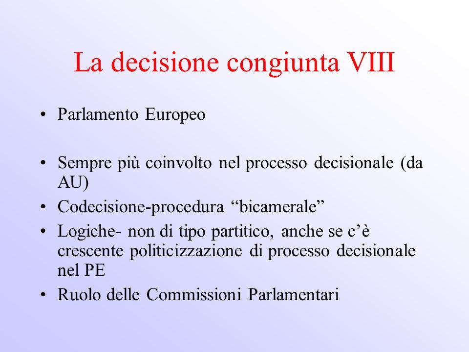 La decisione congiunta VIII Parlamento Europeo Sempre più coinvolto nel processo decisionale (da AU) Codecisione-procedura bicamerale Logiche- non di