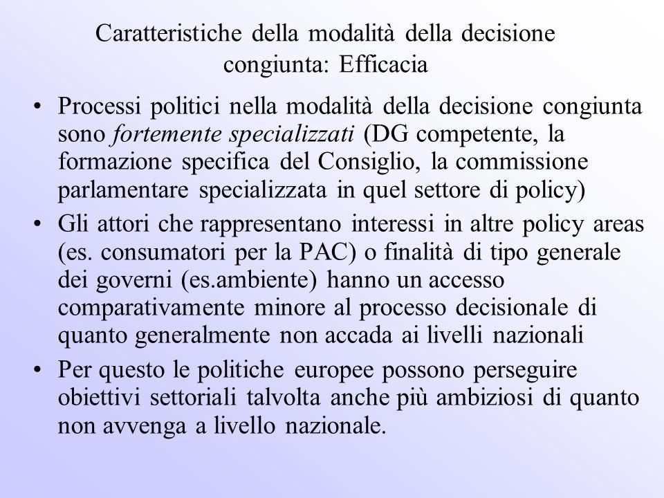 Caratteristiche della modalità della decisione congiunta: Efficacia Processi politici nella modalità della decisione congiunta sono fortemente special