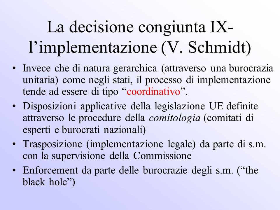 La decisione congiunta IX- limplementazione (V. Schmidt) Invece che di natura gerarchica (attraverso una burocrazia unitaria) come negli stati, il pro