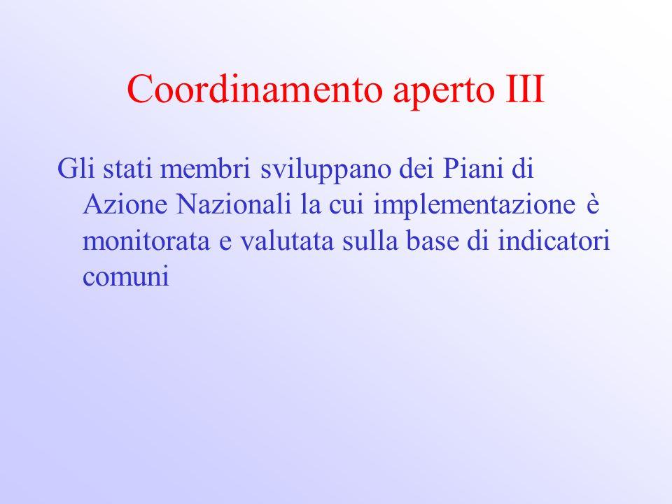 Coordinamento aperto III Gli stati membri sviluppano dei Piani di Azione Nazionali la cui implementazione è monitorata e valutata sulla base di indica