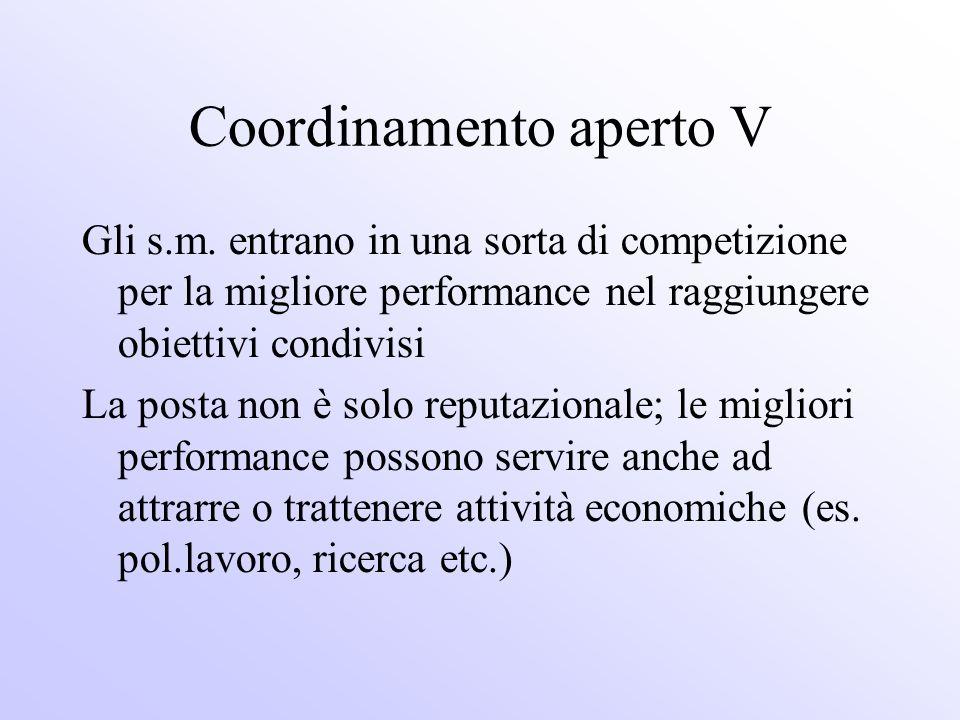 Coordinamento aperto V Gli s.m. entrano in una sorta di competizione per la migliore performance nel raggiungere obiettivi condivisi La posta non è so