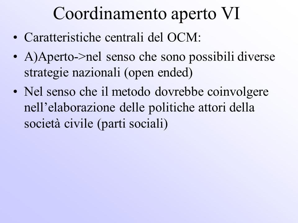Coordinamento aperto VI Caratteristiche centrali del OCM: A)Aperto->nel senso che sono possibili diverse strategie nazionali (open ended) Nel senso ch