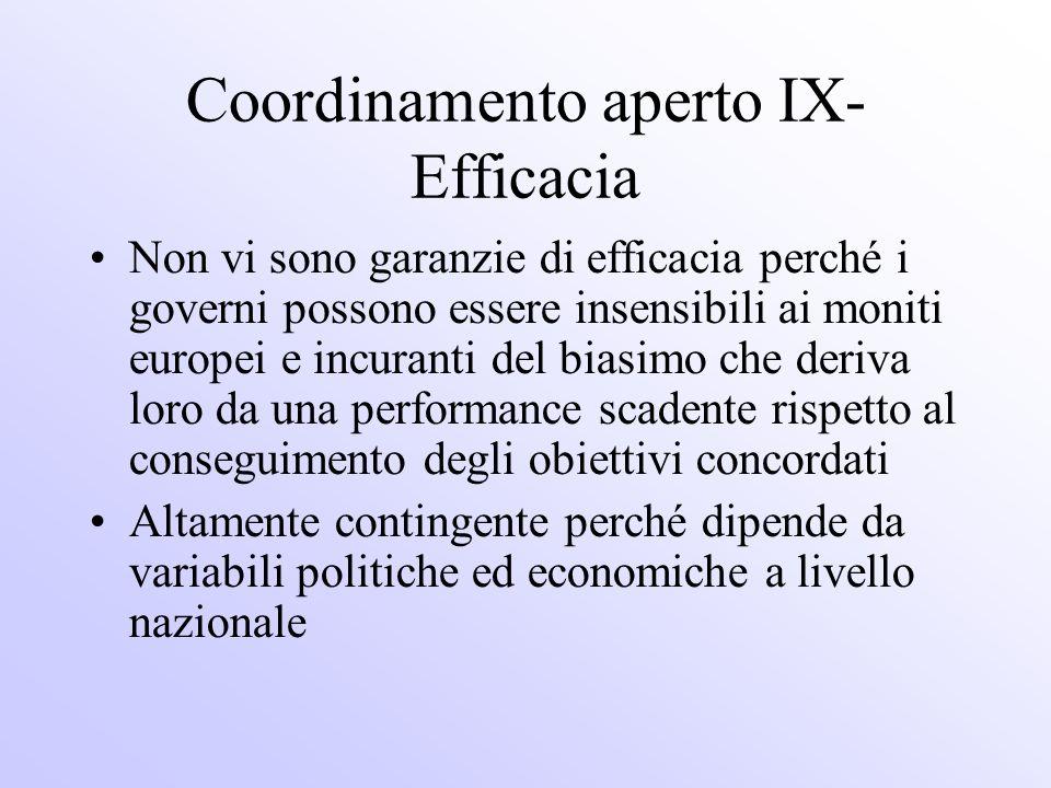 Coordinamento aperto IX- Efficacia Non vi sono garanzie di efficacia perché i governi possono essere insensibili ai moniti europei e incuranti del bia