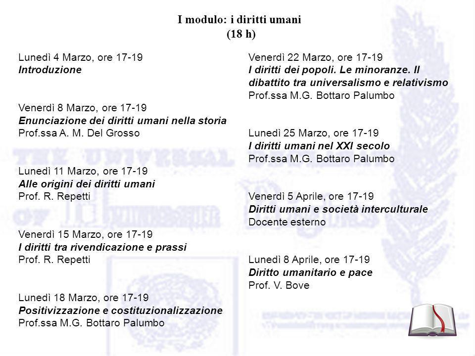 I modulo: i diritti umani (18 h) Lunedì 4 Marzo, ore 17-19 Introduzione Venerdì 8 Marzo, ore 17-19 Enunciazione dei diritti umani nella storia Prof.ssa A.