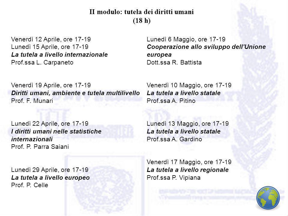 II modulo: tutela dei diritti umani (18 h) Venerdì 12 Aprile, ore 17-19 Lunedì 15 Aprile, ore 17-19 La tutela a livello internazionale Prof.ssa L.