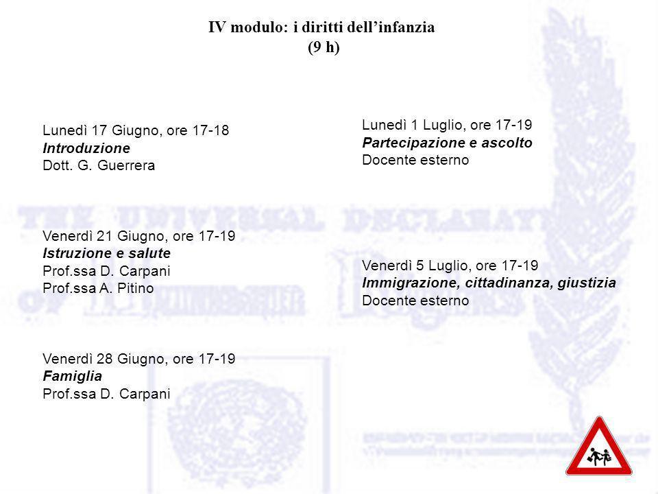 IV modulo: i diritti dellinfanzia (9 h) Lunedì 17 Giugno, ore 17-18 Introduzione Dott.