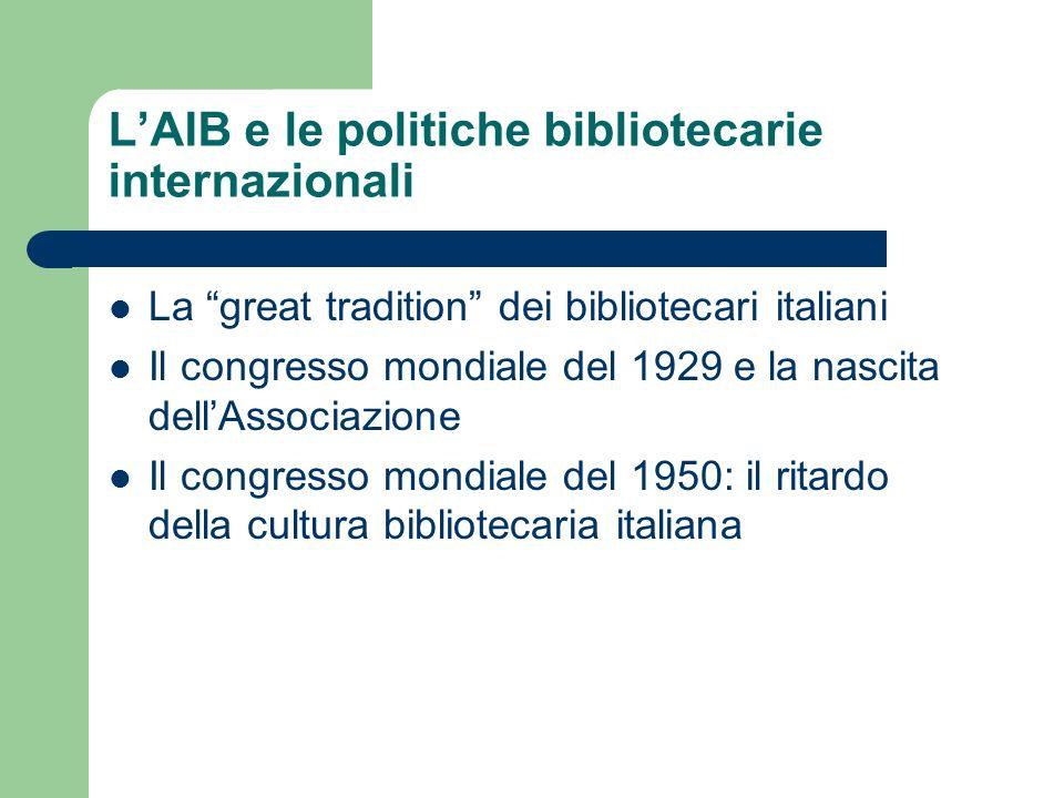 LAIB e le politiche bibliotecarie internazionali La great tradition dei bibliotecari italiani Il congresso mondiale del 1929 e la nascita dellAssociaz