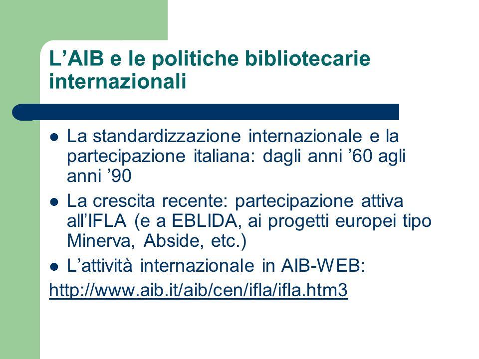 LAIB e le politiche bibliotecarie internazionali La standardizzazione internazionale e la partecipazione italiana: dagli anni 60 agli anni 90 La cresc