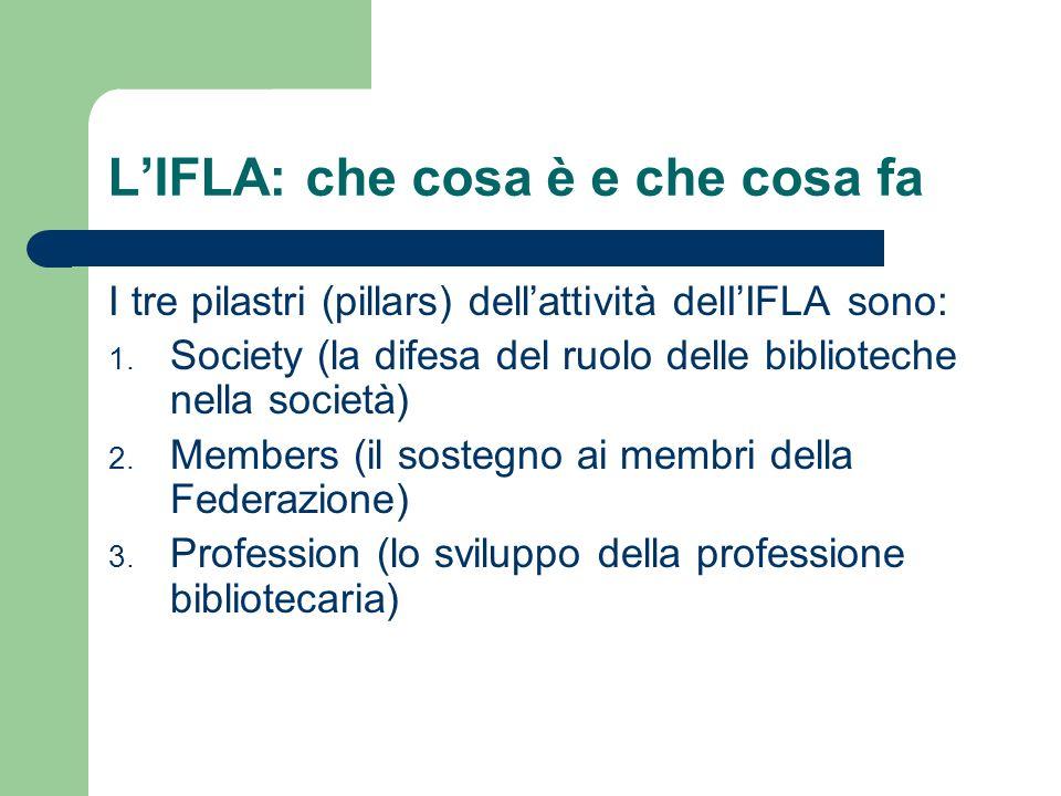 LIFLA: che cosa è e che cosa fa I tre pilastri (pillars) dellattività delIIFLA sono: 1. Society (la difesa del ruolo delle biblioteche nella società)