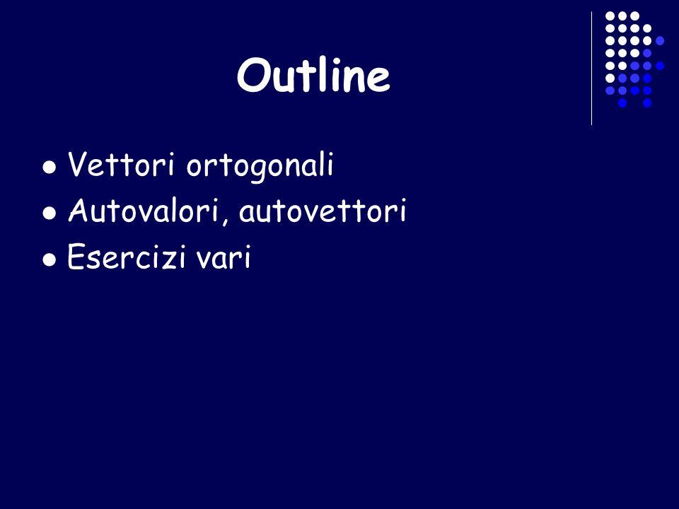 Vettori ortogonali I vettori non nulli si dicono ortogonali se: I vettori non nulli si dicono ortonormali se sono ortogonali e inoltre Se m=n si dice che tali vettori ortonormali formano una base canonica (ortonormale) di R n