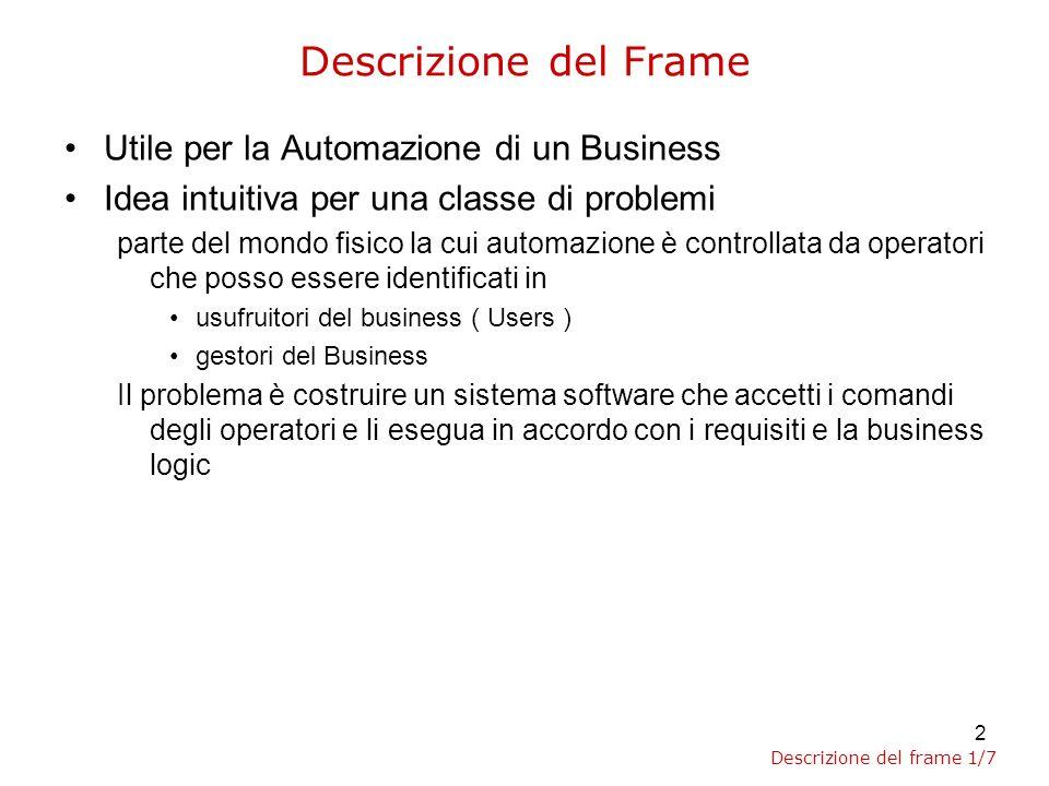 3 Maggiori dettagli sui propositi del Frame Il concetto di Automazione modella la necessità di eliminare dal Domain delle entità reali e concettualizzarle all interno della software application ( System ) presente nel design.