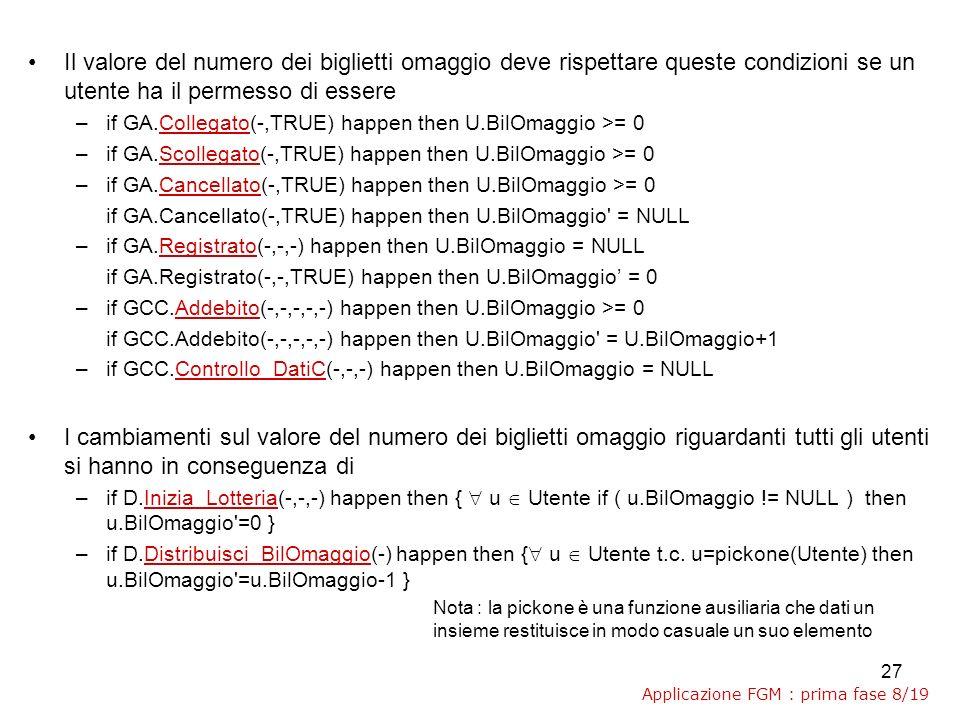 27 Il valore del numero dei biglietti omaggio deve rispettare queste condizioni se un utente ha il permesso di essere –if GA.Collegato(-,TRUE) happen then U.BilOmaggio >= 0 –if GA.Scollegato(-,TRUE) happen then U.BilOmaggio >= 0 –if GA.Cancellato(-,TRUE) happen then U.BilOmaggio >= 0 if GA.Cancellato(-,TRUE) happen then U.BilOmaggio = NULL –if GA.Registrato(-,-,-) happen then U.BilOmaggio = NULL if GA.Registrato(-,-,TRUE) happen then U.BilOmaggio = 0 –if GCC.Addebito(-,-,-,-,-) happen then U.BilOmaggio >= 0 if GCC.Addebito(-,-,-,-,-) happen then U.BilOmaggio = U.BilOmaggio+1 –if GCC.Controllo_DatiC(-,-,-) happen then U.BilOmaggio = NULL I cambiamenti sul valore del numero dei biglietti omaggio riguardanti tutti gli utenti si hanno in conseguenza di –if D.Inizia_Lotteria(-,-,-) happen then { u Utente if ( u.BilOmaggio != NULL ) then u.BilOmaggio =0 } –if D.Distribuisci_BilOmaggio(-) happen then { u Utente t.c.