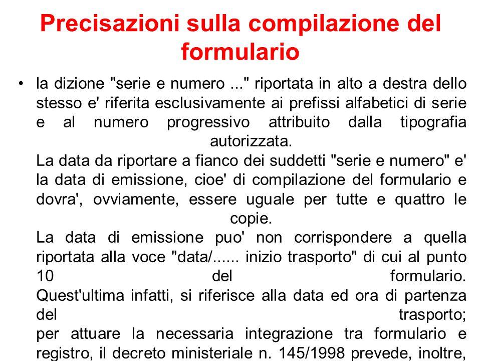Precisazioni sulla compilazione del formulario la dizione