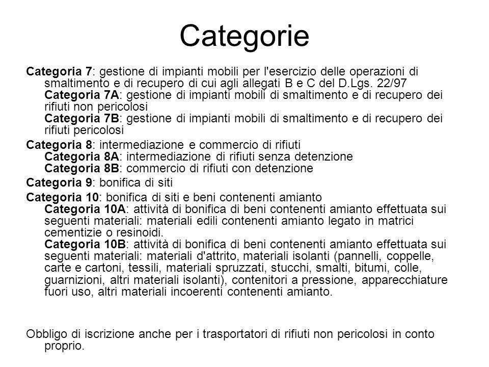 Categorie Categoria 7: gestione di impianti mobili per l'esercizio delle operazioni di smaltimento e di recupero di cui agli allegati B e C del D.Lgs.