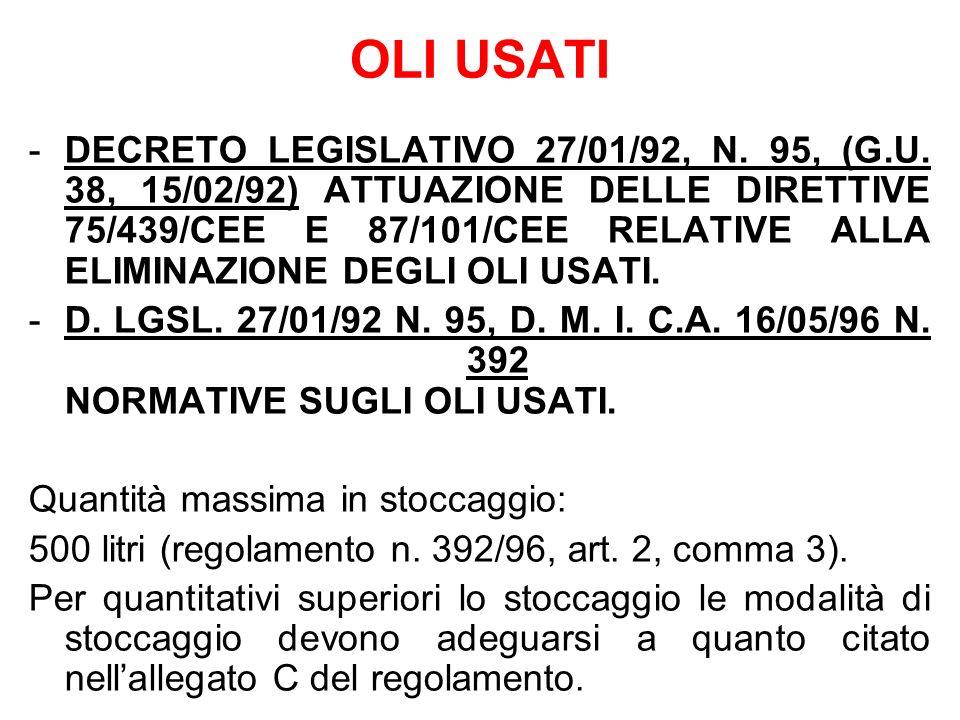 OLI USATI -DECRETO LEGISLATIVO 27/01/92, N. 95, (G.U. 38, 15/02/92) ATTUAZIONE DELLE DIRETTIVE 75/439/CEE E 87/101/CEE RELATIVE ALLA ELIMINAZIONE DEGL