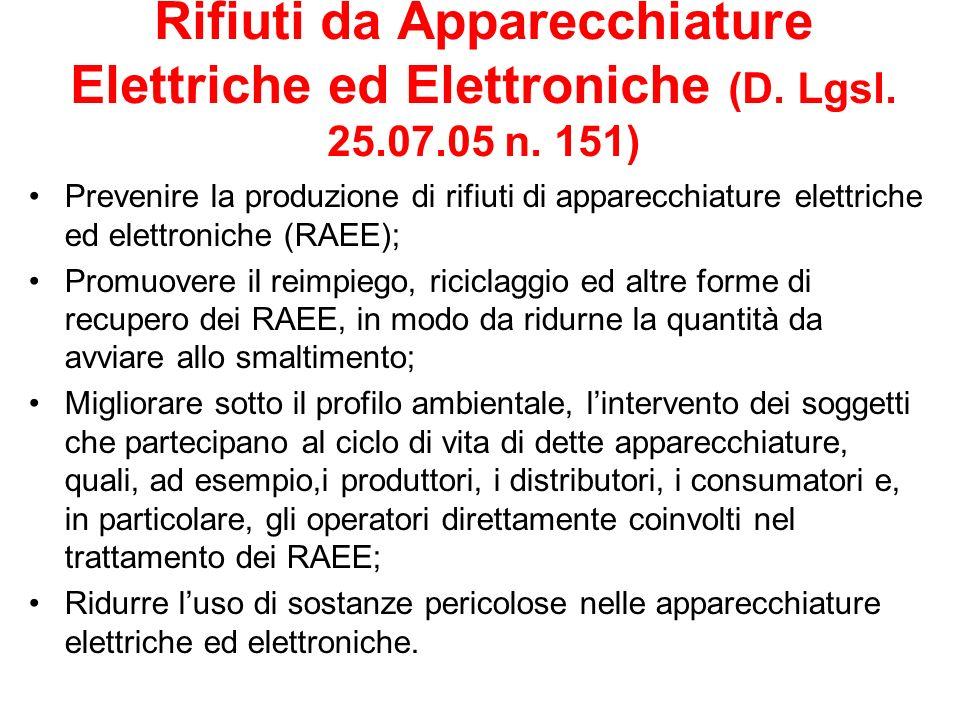 Rifiuti da Apparecchiature Elettriche ed Elettroniche (D. Lgsl. 25.07.05 n. 151) Prevenire la produzione di rifiuti di apparecchiature elettriche ed e