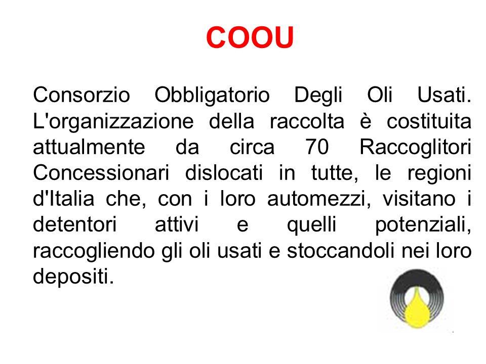 COOU Consorzio Obbligatorio Degli Oli Usati. L'organizzazione della raccolta è costituita attualmente da circa 70 Raccoglitori Concessionari dislocati