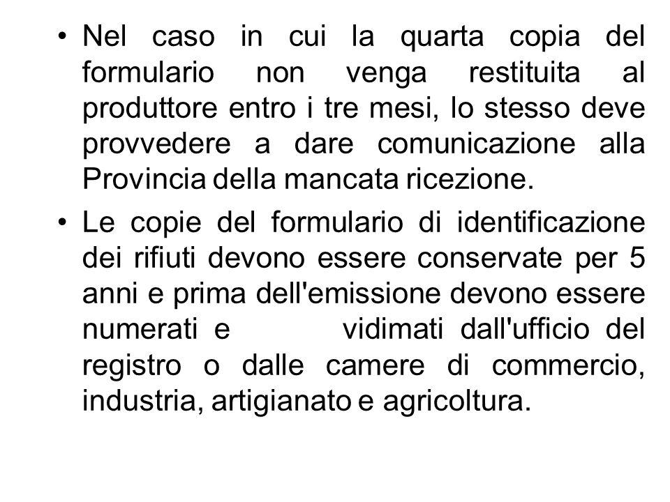 FORMULARIO DI IDENTIFICAZIONE RIFIUTO Serie e Numero:...del (DL n.