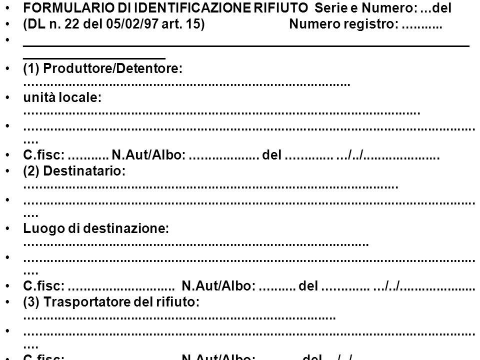 FORMULARIO DI IDENTIFICAZIONE RIFIUTO Serie e Numero:...del (DL n. 22 del 05/02/97 art. 15) Numero registro:........... ______________________________