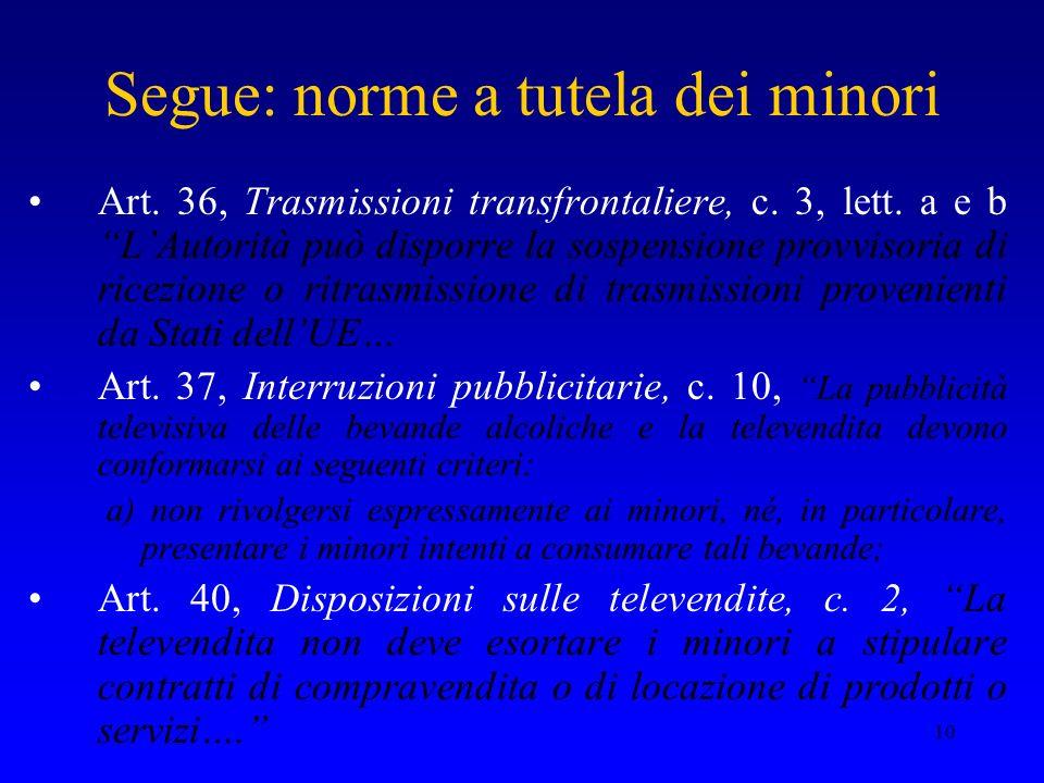 10 Segue: norme a tutela dei minori Art. 36, Trasmissioni transfrontaliere, c. 3, lett. a e b LAutorità può disporre la sospensione provvisoria di ric
