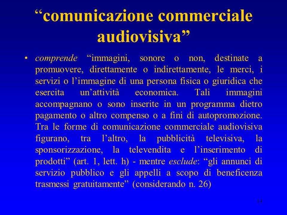 14 comunicazione commerciale audiovisiva comprende immagini, sonore o non, destinate a promuovere, direttamente o indirettamente, le merci, i servizi