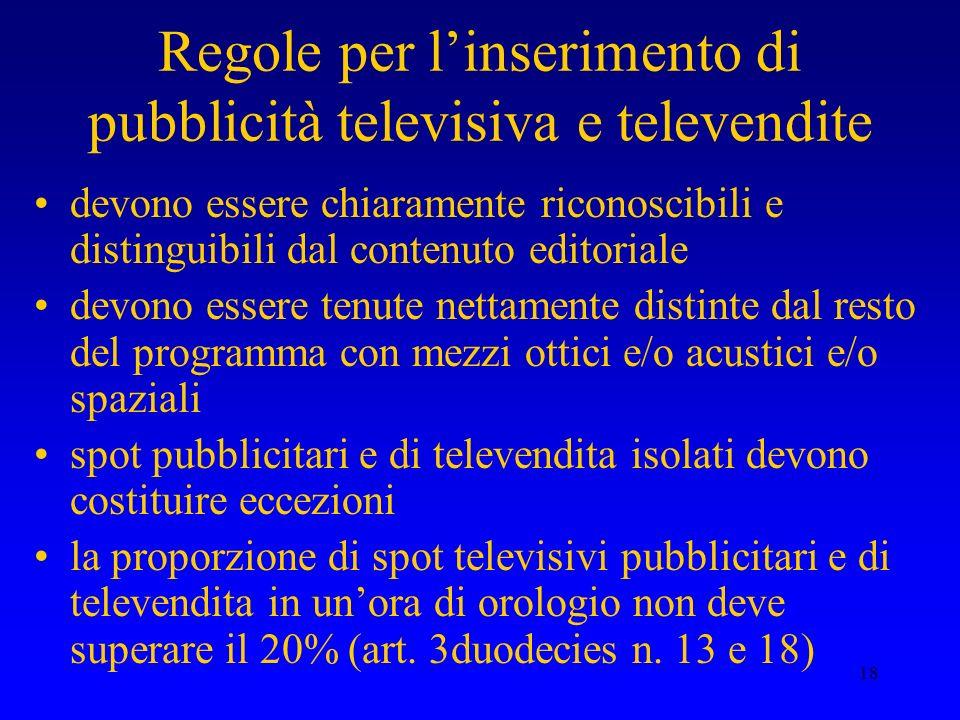 18 Regole per linserimento di pubblicità televisiva e televendite devono essere chiaramente riconoscibili e distinguibili dal contenuto editoriale dev