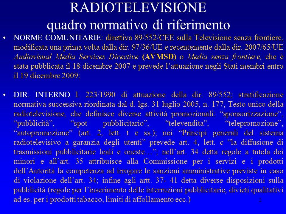 2 RADIOTELEVISIONE quadro normativo di riferimento NORME COMUNITARIE: direttiva 89/552/CEE sulla Televisione senza frontiere, modificata una prima vol