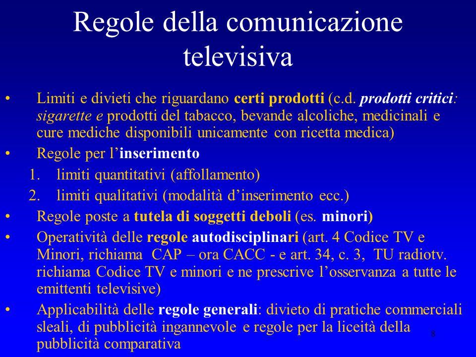 8 Regole della comunicazione televisiva Limiti e divieti che riguardano certi prodotti (c.d. prodotti critici: sigarette e prodotti del tabacco, bevan