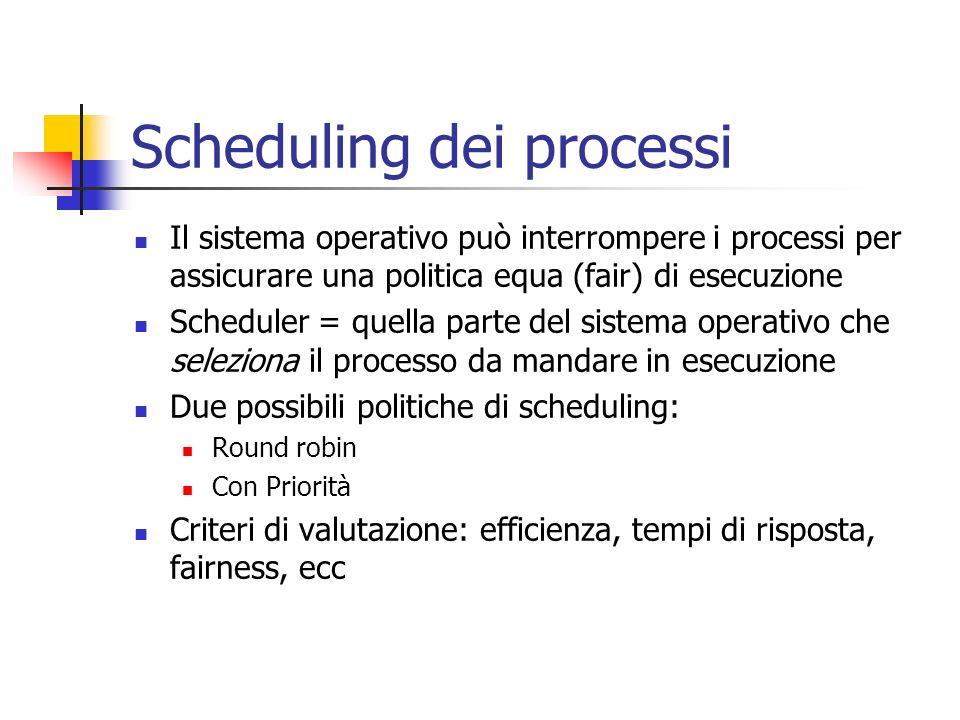 Scheduling dei processi Il sistema operativo può interrompere i processi per assicurare una politica equa (fair) di esecuzione Scheduler = quella part