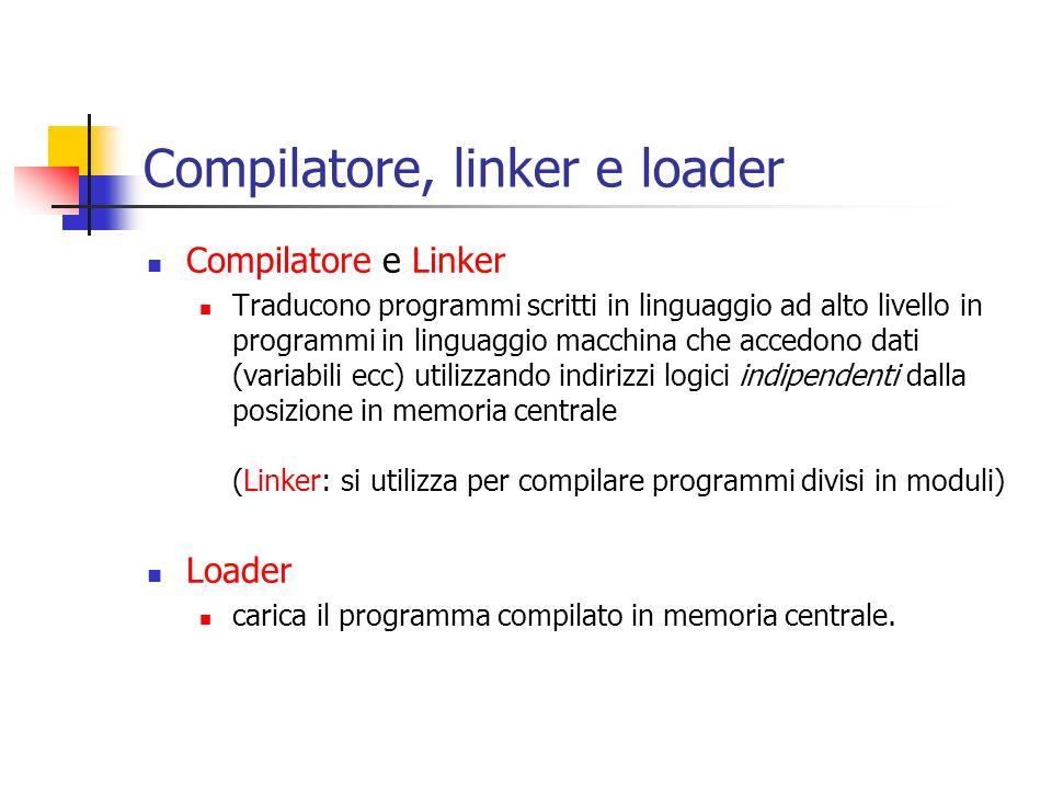 Compilatore, linker e loader Compilatore e Linker Traducono programmi scritti in linguaggio ad alto livello in programmi in linguaggio macchina che ac