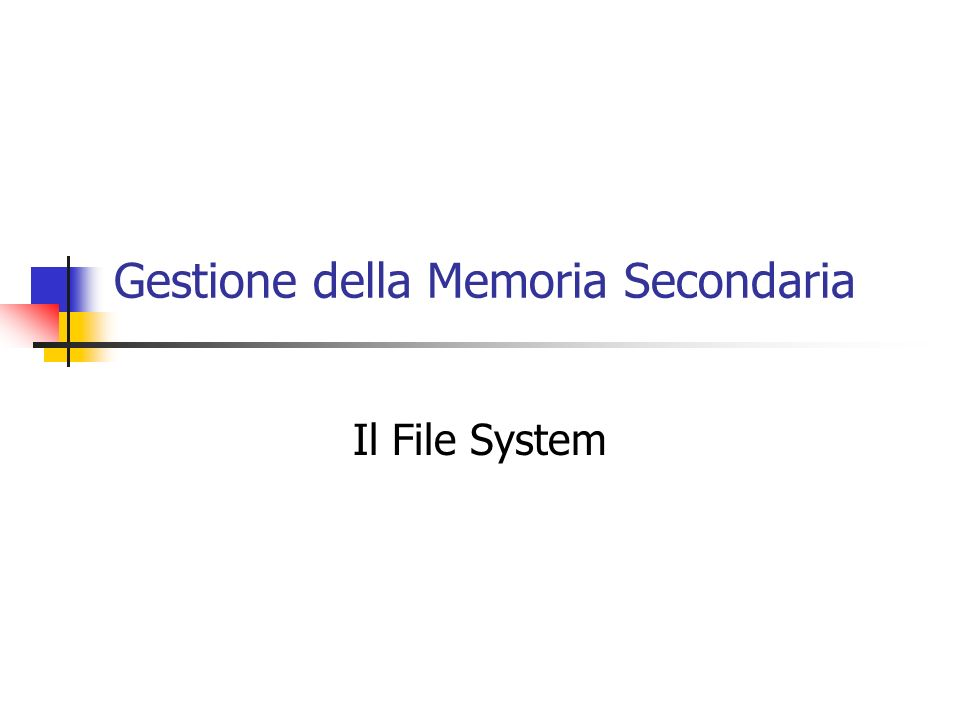 Gestione della Memoria Secondaria Il File System