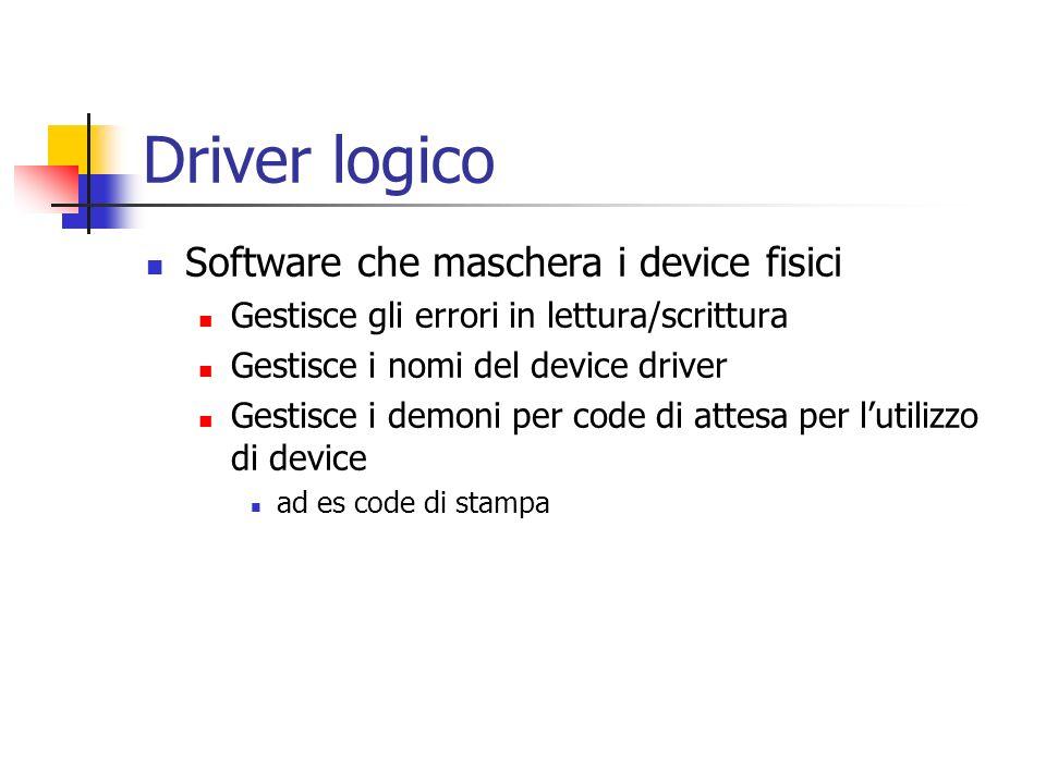Driver logico Software che maschera i device fisici Gestisce gli errori in lettura/scrittura Gestisce i nomi del device driver Gestisce i demoni per c