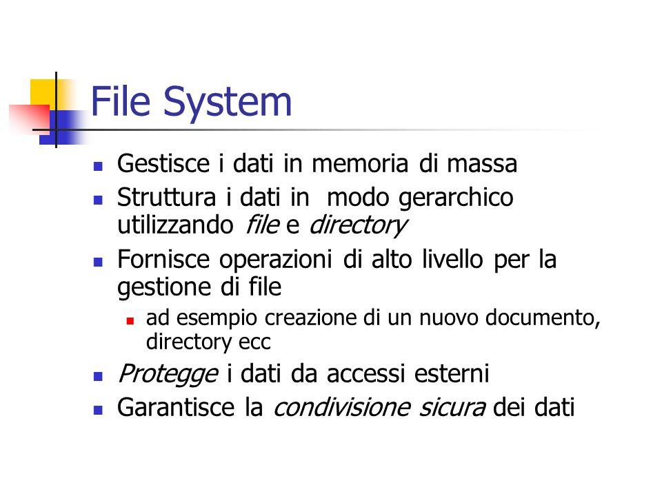 Gestione File System File possono venire memorizzati con Allocazione continua di blocchi di byte Allocazione collegata (un blocco contiene lindirizzo del prossimo) Allocazione con indice (si mantiene una tabella in memoria per recuperare i blocchi) – DOS - I-node: tabella con puntatori ad altre tabelle (combina le ultime due) – UNIX –
