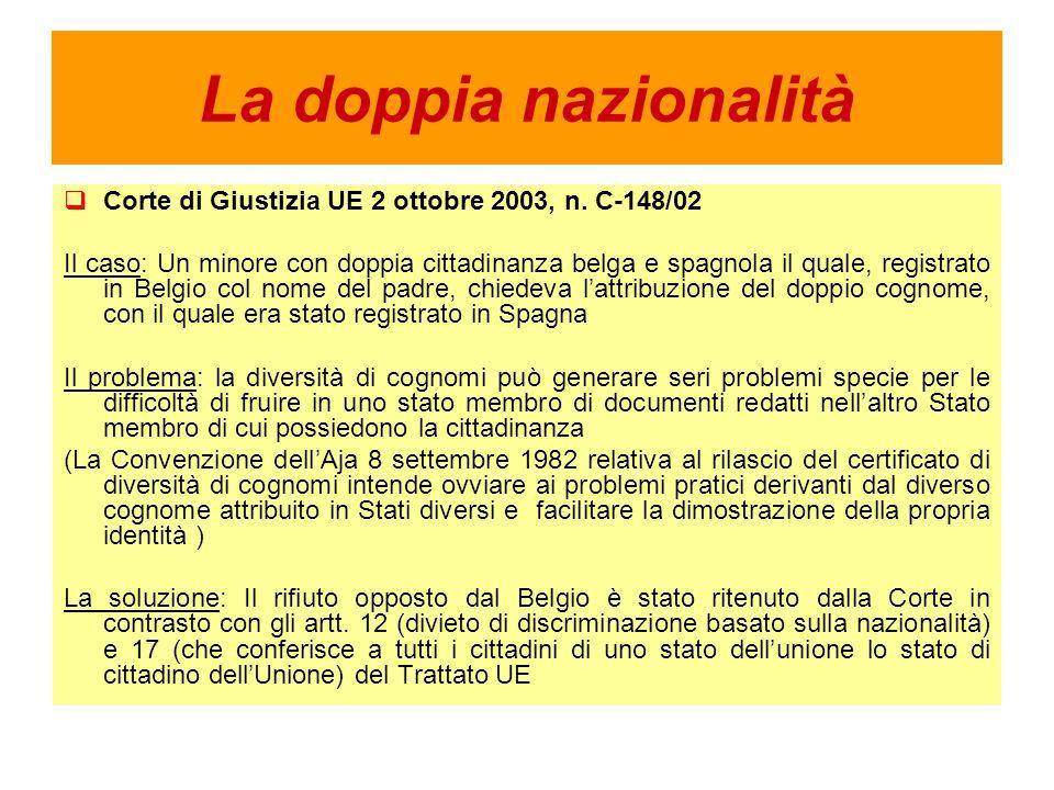 La doppia nazionalità Corte di Giustizia UE 2 ottobre 2003, n.