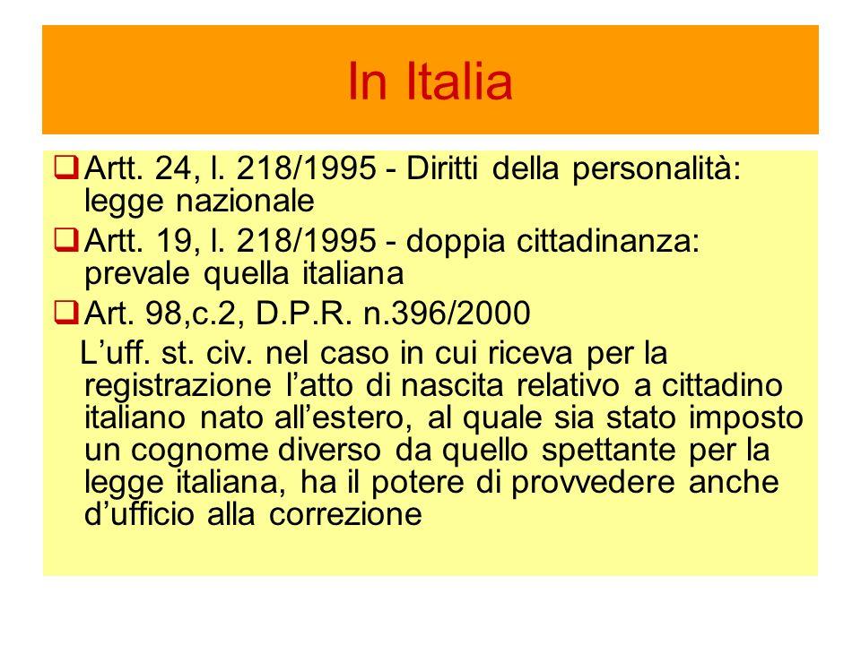 In Italia Artt. 24, l. 218/1995 - Diritti della personalità: legge nazionale Artt.