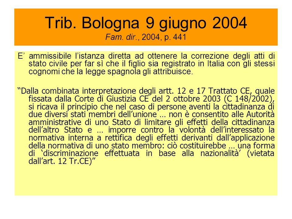 Trib. Bologna 9 giugno 2004 Fam. dir., 2004, p.