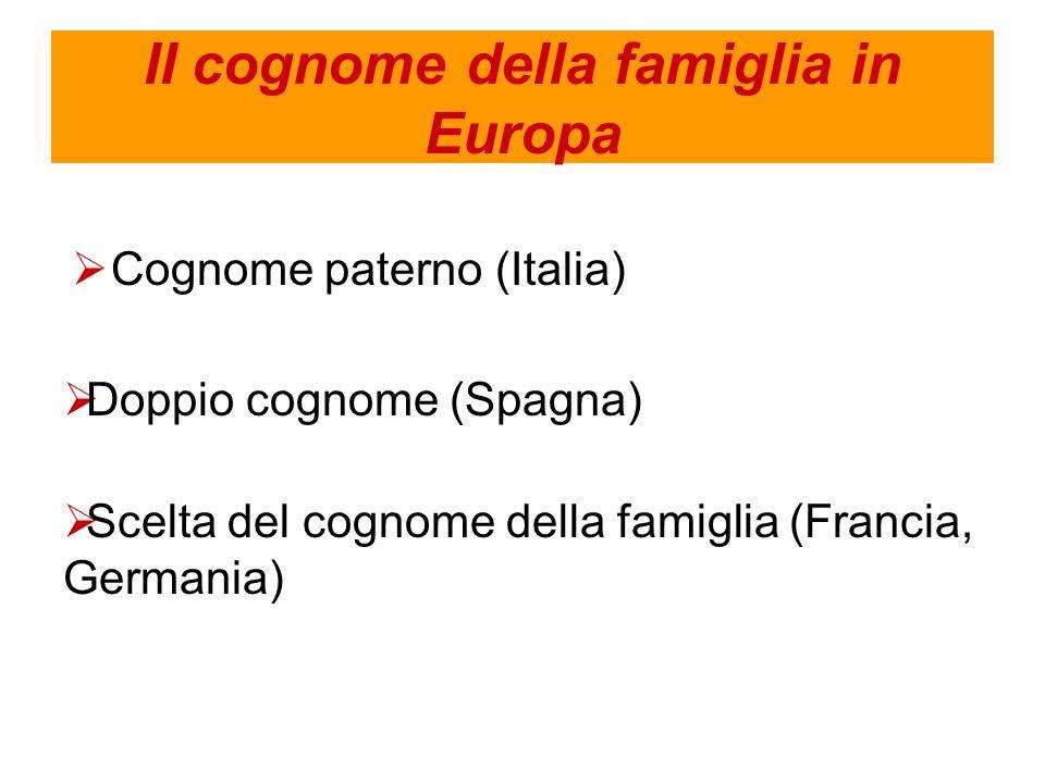 II cognome della famiglia in Europa Cognome paterno (Italia) Doppio cognome (Spagna) Scelta del cognome della famiglia (Francia, Germania)