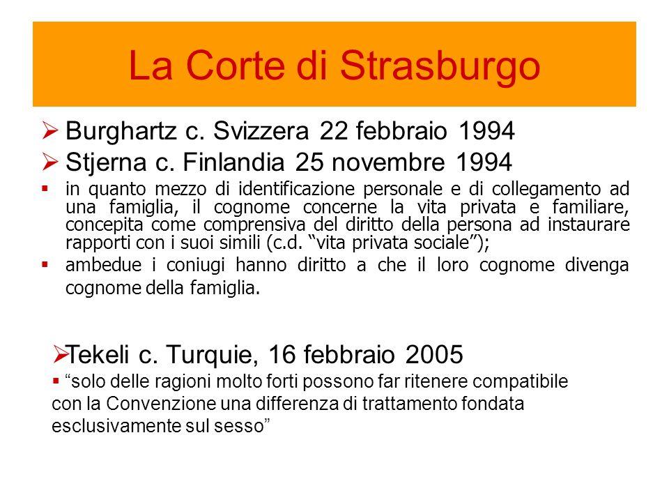 La Corte di Strasburgo Burghartz c. Svizzera 22 febbraio 1994 Stjerna c.