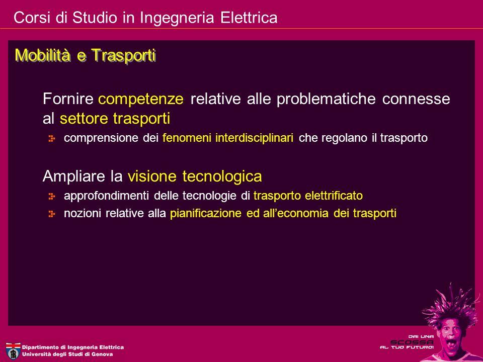 Corsi di Studio in Ingegneria Elettrica Mobilità e Trasporti Fornire competenze relative alle problematiche connesse al settore trasporti comprensione