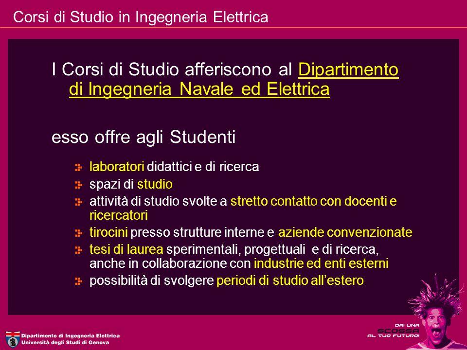 Corsi di Studio in Ingegneria Elettrica I Corsi di Studio afferiscono al Dipartimento di Ingegneria Navale ed Elettrica esso offre agli Studenti labor