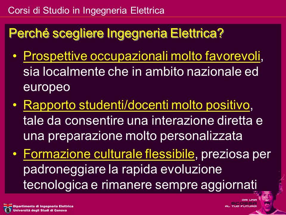 Corsi di Studio in Ingegneria Elettrica Prospettive occupazionali molto favorevoli, sia localmente che in ambito nazionale ed europeo Rapporto student