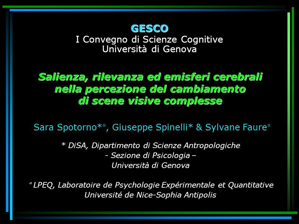 Salienza, rilevanza ed emisferi cerebrali nella percezione del cambiamento di scene visive complesse Sara Spotorno*°, Giuseppe Spinelli* & Sylvane Fau