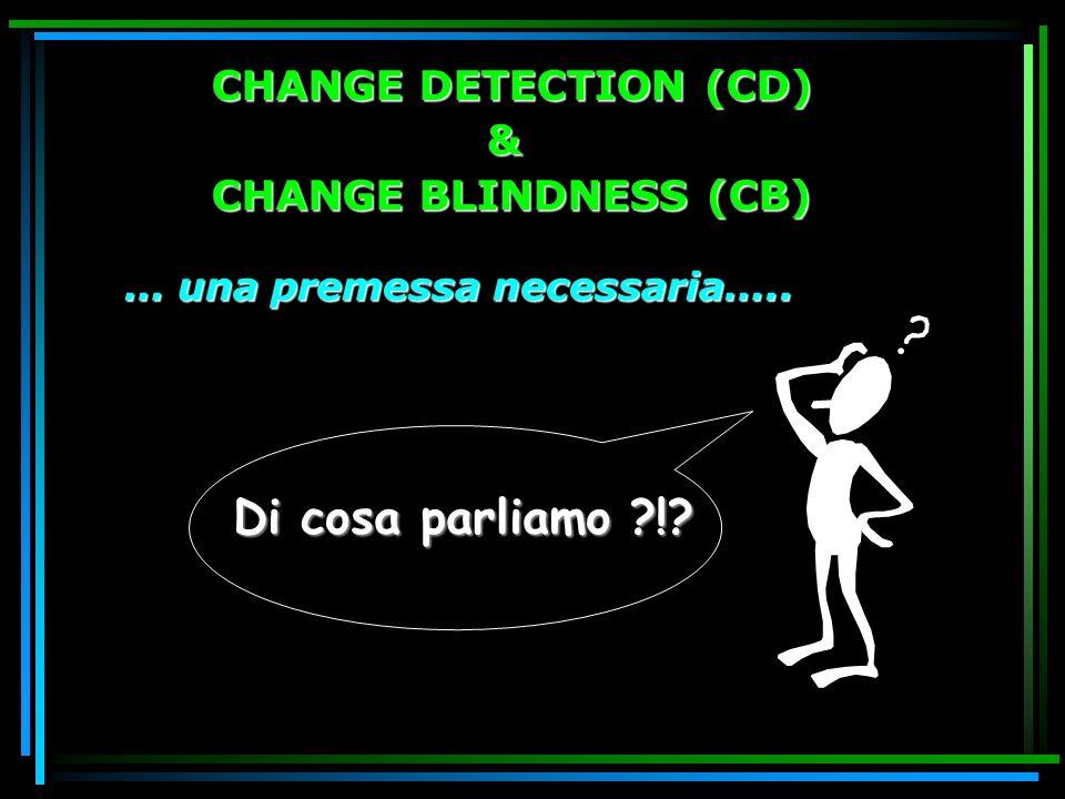 CHANGE BLINDNESS (CB) CECITA AL CAMBIAMENTO (Rensink et al., 1997; Rensink, 2000, 2002; Simons & Levin, 1997) Difficoltà nella detezione, identificazione, localizzazione dei cambiamenti che avvengono nellambiente in condizioni di perturbazione del segnale transiente locale normalmente associato ai cambiamenti stessi.