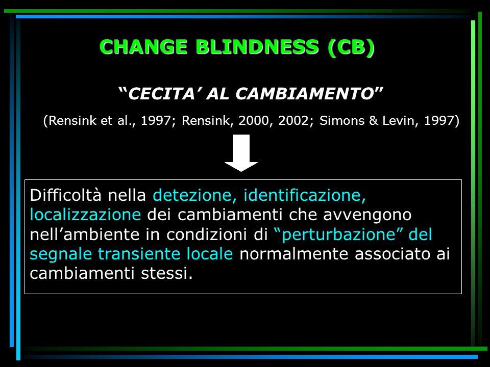 CHANGE BLINDNESS (CB) CECITA AL CAMBIAMENTO (Rensink et al., 1997; Rensink, 2000, 2002; Simons & Levin, 1997) Difficoltà nella detezione, identificazi