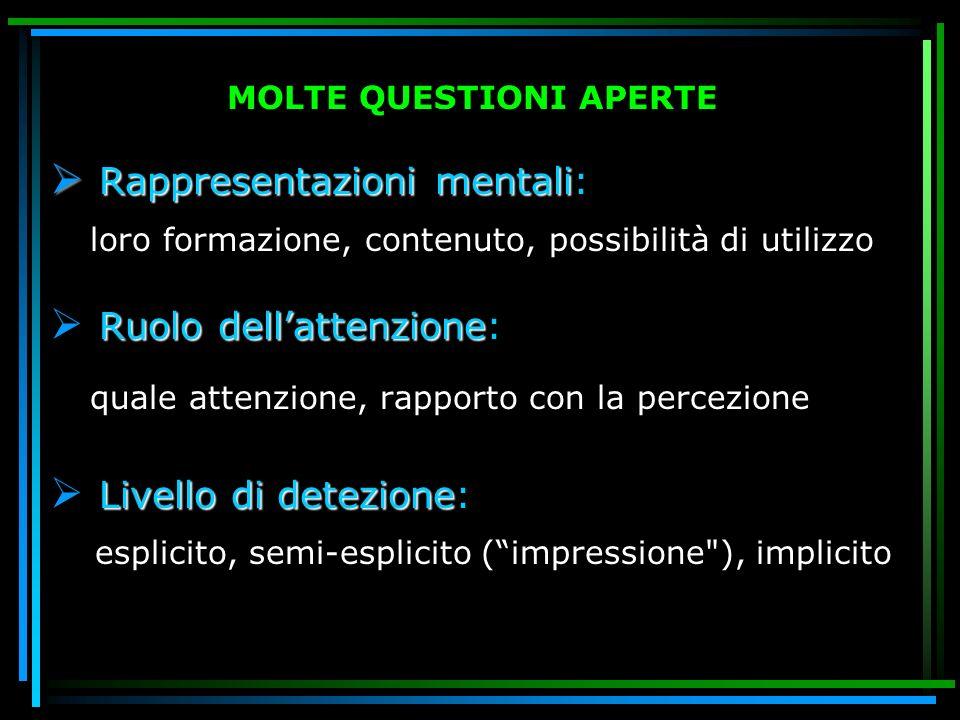 MOLTE QUESTIONI APERTE Rappresentazioni mentali Rappresentazioni mentali: loro formazione, contenuto, possibilità di utilizzo Ruolo dellattenzione Ruo