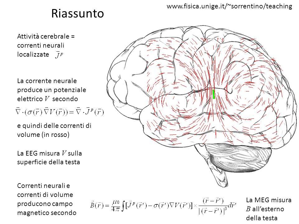Riassunto Attività cerebrale = correnti neurali localizzate La corrente neurale produce un potenziale elettrico V secondo e quindi delle correnti di v