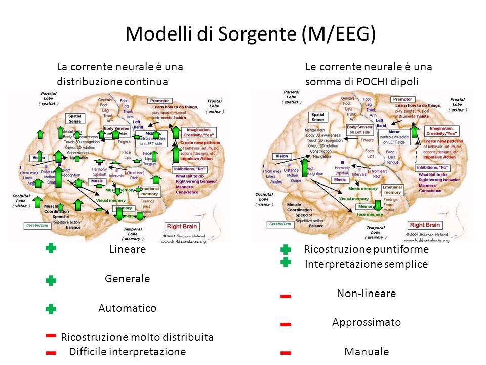 Modelli di Sorgente (M/EEG) La corrente neurale è una distribuzione continua Le corrente neurale è una somma di POCHI dipoli Lineare Generale Automati