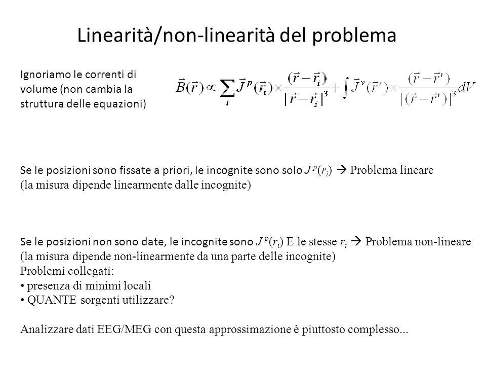 Linearità/non-linearità del problema Ignoriamo le correnti di volume (non cambia la struttura delle equazioni) Se le posizioni sono fissate a priori,